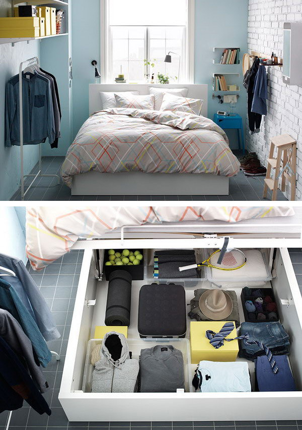 If you are struggling with the storage in your samll bedroom. This kind of bedroom design from IKEA can give you extra space with a bed that lets you hide clothes, blankets, pillows and everything else right under the mattress.