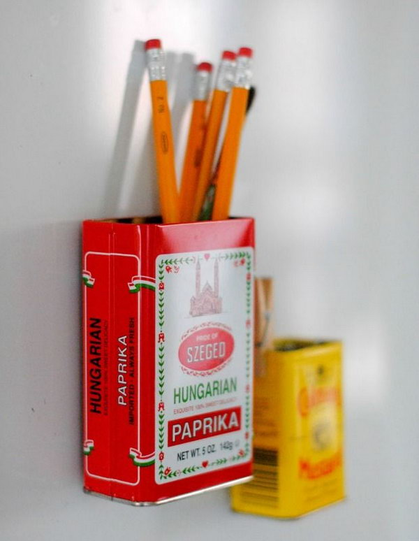 Use vintage tins fro storage. Attach magnets onto vintage tins and make fridge decors that also act as extra storage items. http://hative.com/creative-new-uses-for-everyday-items/