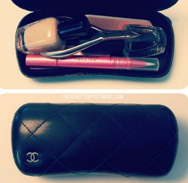Use old sunglass case for makeup storage. Use an old sunglass case for all of your on the go beauty items. They will stay protected and organized. http://hative.com/creative-new-uses-for-everyday-items/
