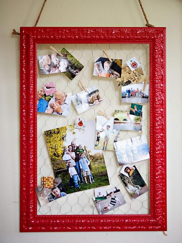 Use old frame (painted) and wire to creatue a fun memo board. Designing and organizing your home office doesn't have to be a budget killer. Reuse your old items in surprising ways for wall art display. http://hative.com/creative-new-uses-for-everyday-items/