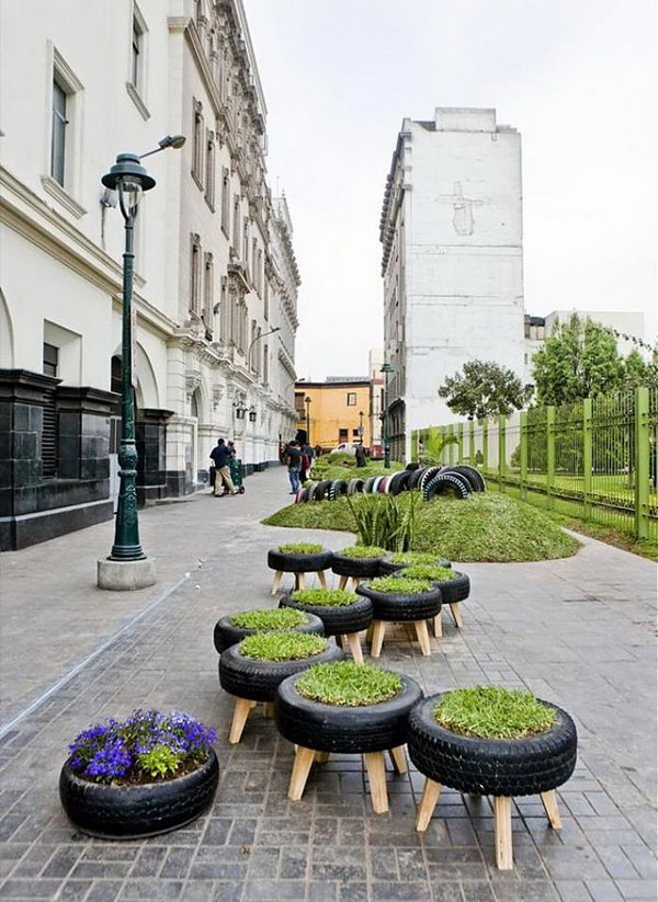 Type garden. The tyre can be a good container for the flower and grass. You should not abandon them next time.