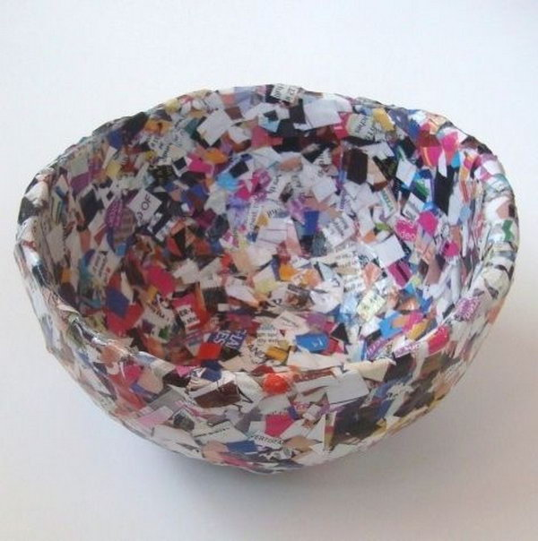 It's a new use for old newspapers and magazines. This confetti magazine bowl can be filled with candy or other items.