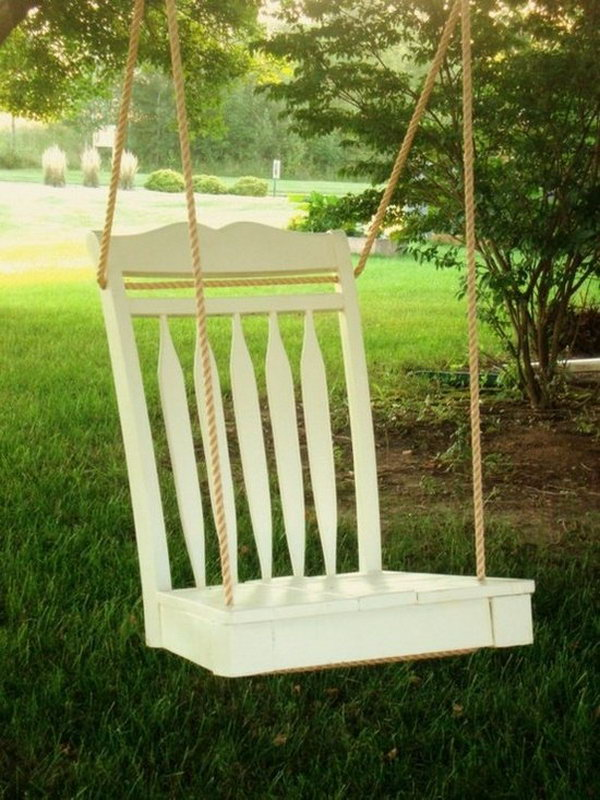 Recycle an old chair as a swing. When you feel tired and want to relax yourself in your yard, having a swing is a good choice. http://hative.com/creative-new-uses-for-everyday-items/