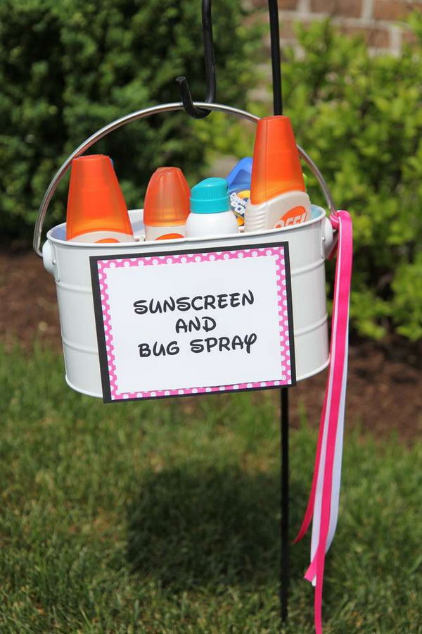 Sunscreen and Bug Spray. For a outdoor summer party, it's very necessary to set out sunscreen and bug spray to avoid you from mosquito biting.