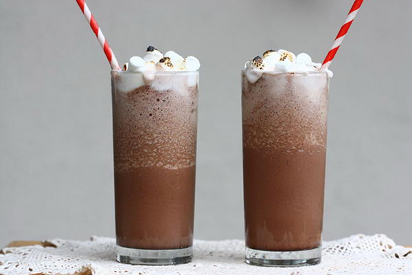 Frozen Hot Chocolate. Treat all your guests with this frozen hot chocolate beverage to enjoy this icy delicious  summer party flavor. Pour in milk, add chocolate mixture, blend together, top with the whipped cream and some marshmallow to finish off its unique mouthwatering flavor.
