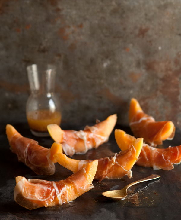 Prosciutto Wrapped Melon. Cut the melon into wedges, wrap a slice of prosciutto around and drizzle with the vinaigrette. You'll get this prosciutto wrapped melon with a honey mustard vinaigrette to follow the summer party food trend and enjoy the mouthwatering  flavor.