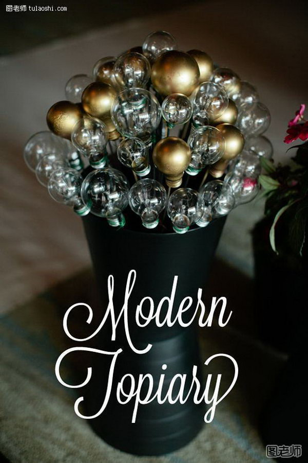 Modern Topiaries. Replace flowers with this light bulb topiary arrangement for your wedding reception. This will definitely catch all your guests' attention and make your wedding event spectacular.