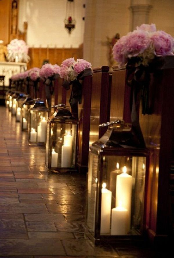 Candles in Lanterns. Use these candles in lanterns to create a super romantic effect lighting for your ceremony. When lighted, the candle lights on clear surfaces can create a soft, dreamy atmosphere for the great event.