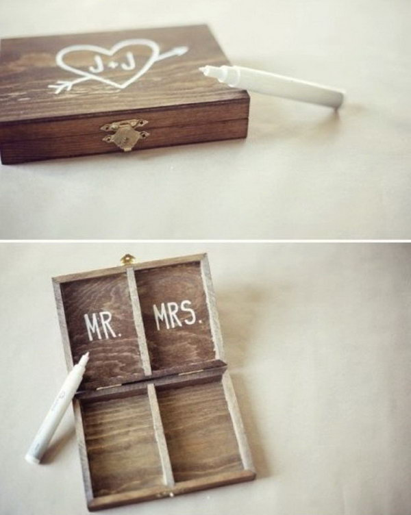 Ring Bearer's Box. Instead of a pillow, you can use this vintage yet beautiful wooden box as the ring bearer. It has patterns and characters both outside and inside for decoration.