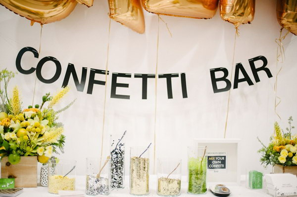Diy Confetti Bar The Has A Beautiful Garland Sign With Vinyl Letters