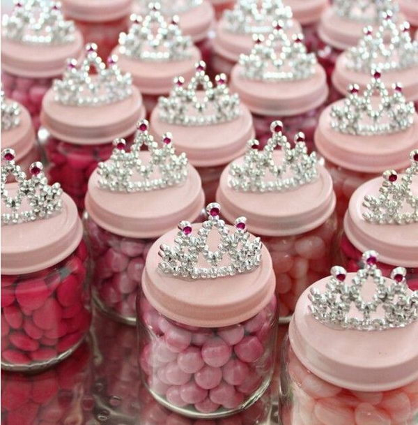 Baby Food Jar Party Favors. Paint the lids and add up some embellishment decor at the top to create your shabby chic party favors your friends will speak highly of. You can also fill them with candies that coordinates with the theme.