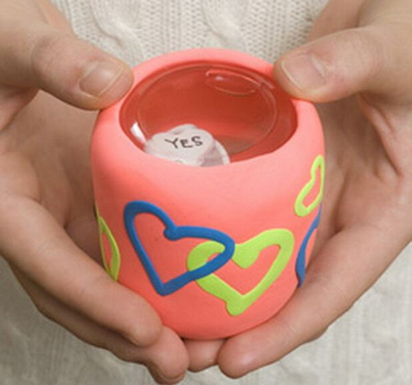 Magic Ball. Place cube in the jar and fill it with water, cover the jar clay or dough. Decorate the jar with clear nail polish and hearts decor from craft foam to finish off its exquisite outlook for a lot of fun.