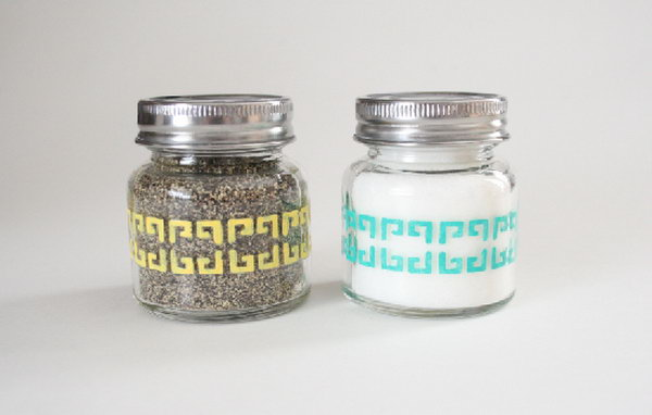 Salt Pepper Shakers. Use nifty little jars, get a nifty package of paints and stencils from folk art enamels for this spring themed colors and beautiful decor.