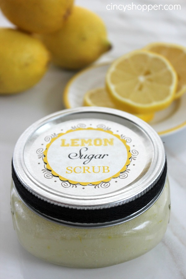 Lemon Sugar Scrub in a Jar. Mix coconut oil and sugar added lemon juice, place them in a jar, add a label and some ribbon for beautiful decor. It's fantastic to whip up these scrubs in the jar.