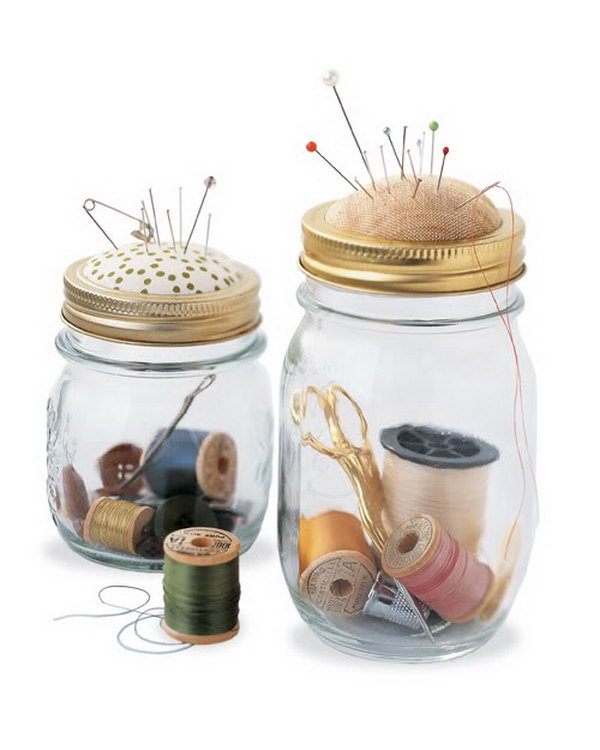 Sewing Kit in a Jar. Turn your shabby mason jar into a brand new sewing kit with a built in pincushion at the top. Make cushion by placing batting between fabric and cardboard, apply hot glue around the edge. It's super chic to keep your sewing kits tidy and clean in this funny jar.
