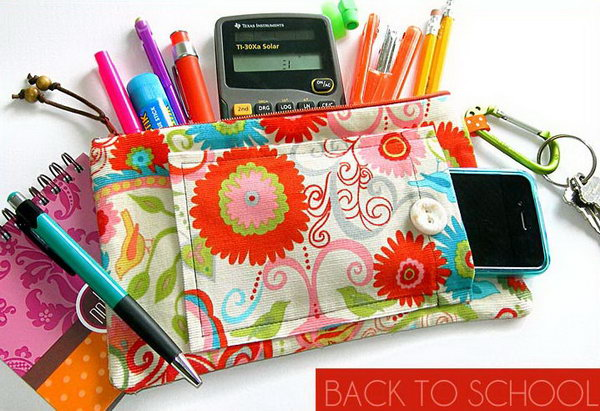 Zippered School Supply Case. Use beautiful patterned fabric to make and place pocket and loop, insert the zipper and finish it off with the final assembly. This is very useful to organize your stationary and the design is so pretty.