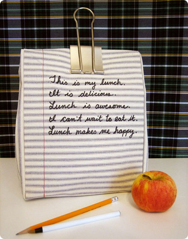 Notebook Lunchbag. Cut out your fabric according to the basic line, sew it together to make every side of the bag. You can write whatever you like to personalize your own in a jiffy with low cost.