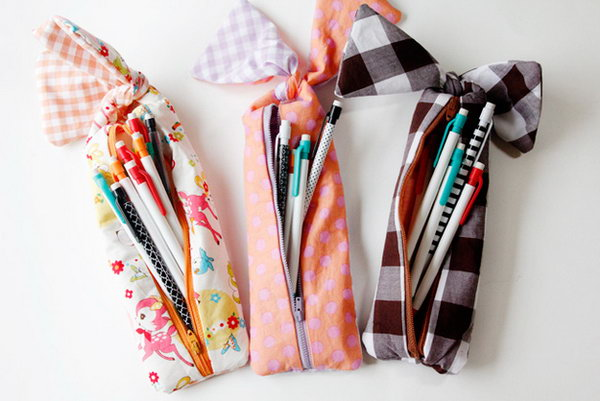 Adorable Bow Pencil Pouch. Sew the lining and main pieces together, insert the zipper and make the bows on the bottom. You'll complete this adorable bow pencil pouch in this beautiful design to pack your pencils.