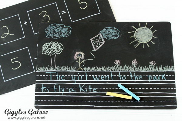 Chalkboard Placemats. Spray paint on both side of the placemat. Draw math problems for the little scholar to practice on one side. On the other, you can create a space to practice letters and writing. It's useful and good for the scholar to study.