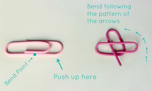 Heart Shaped Paperclips. This beautiful craft is super chic for lazy crafters. Push up the bend point following the pattern of the arrows. It's so cool to pin your files in a hear shape.