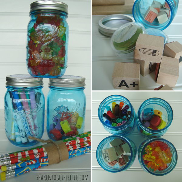DIY Back To School Mason Jar Caddies. Paint the jar lid with meaningful patterns for the school year, such as bee hive pattern and notebook paper pattern. Fill them with back to school essentials to keep things organized in this awesome manner.