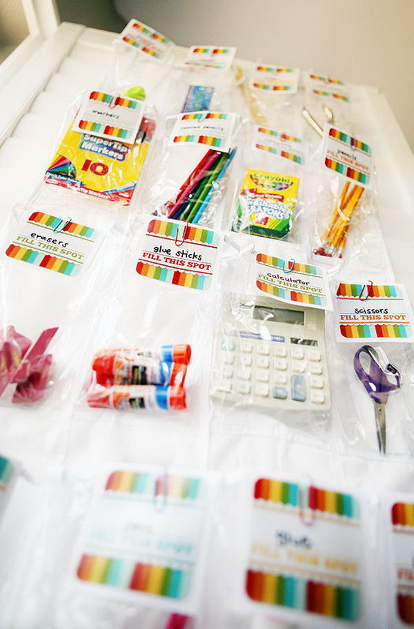 School Supply Organizer. Create this helpful art of work by trimming the cardstock, folding the excess part over the organizer sleeve and attaching paperclips to it. It's super chic to keep school essentials organized in this smart way.