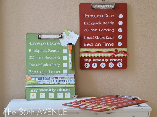 DIY Clipboard Charts. Paint the clipboards, use vinyl to add polka dots and embellish clipboards to finish it off with a stunning decor. It is not only adorable with its outlook but also useful with its practical usage.