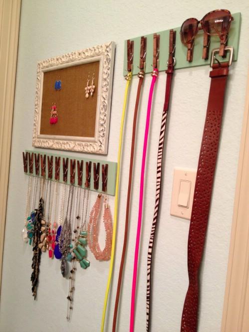 DIY Belt Organizer Made From Clothespins