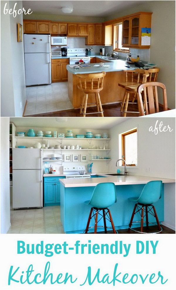 Big Reveal: the Turquoise Kitchen. The perfect example of how simply changing color scheme,  countertops and shelving can really freshen up a room.