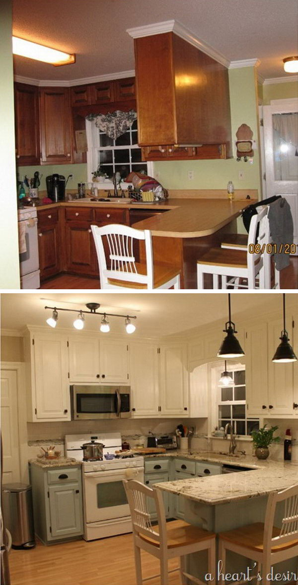 Before and after 25 budget friendly kitchen makeover for Kitchen makeovers
