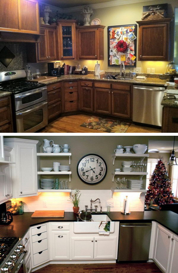 before after kitchen makeovers before and after 25 budget friendly kitchen makeover 7621