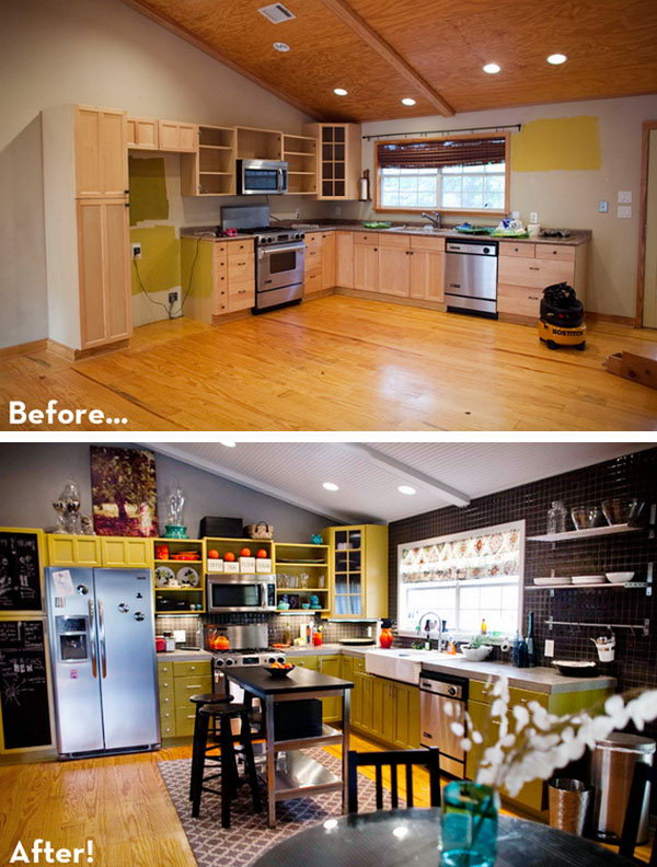 Before and after 25 budget friendly kitchen makeover for Making old kitchen cabinets look modern