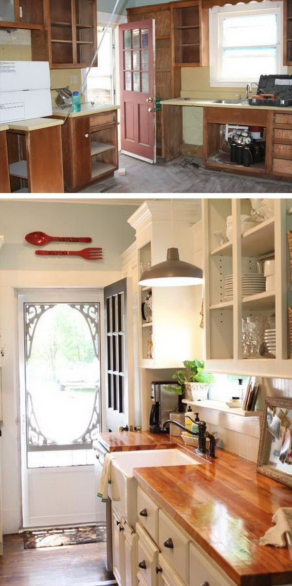 Before and after 25 budget friendly kitchen makeover for Old home kitchen remodel