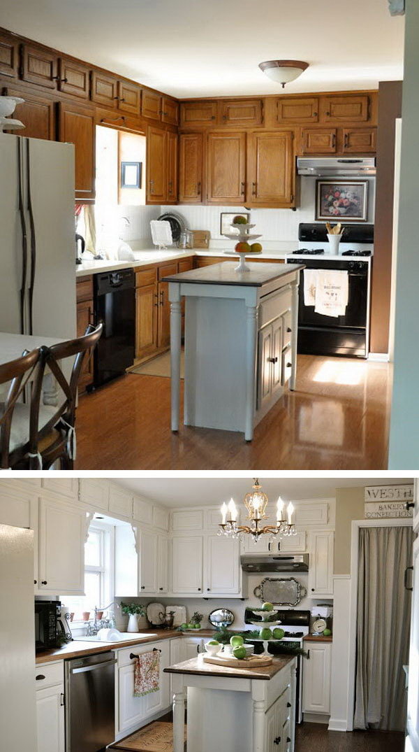 Before: Simple Cuisine. After: A White Revelation. Great kitchen redo on a budget  before's and after's !