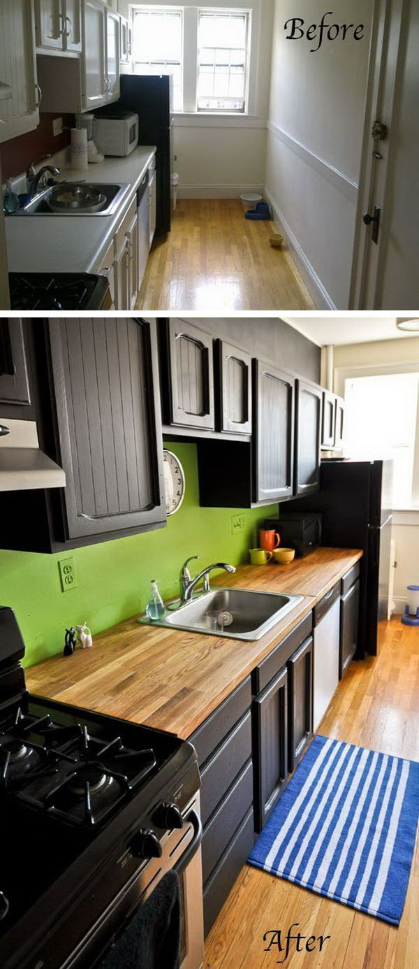 Before & After: 2 Kitchens Overhauled with Bold Color & Painted Cabinets. The new kitchen now has a totally different look just with minimal changes. Love the bold color pallet, black beauty gives weight and  accents, the strong contrast of green pops the whole space up and the wood color infuses a warm and inviting feel.