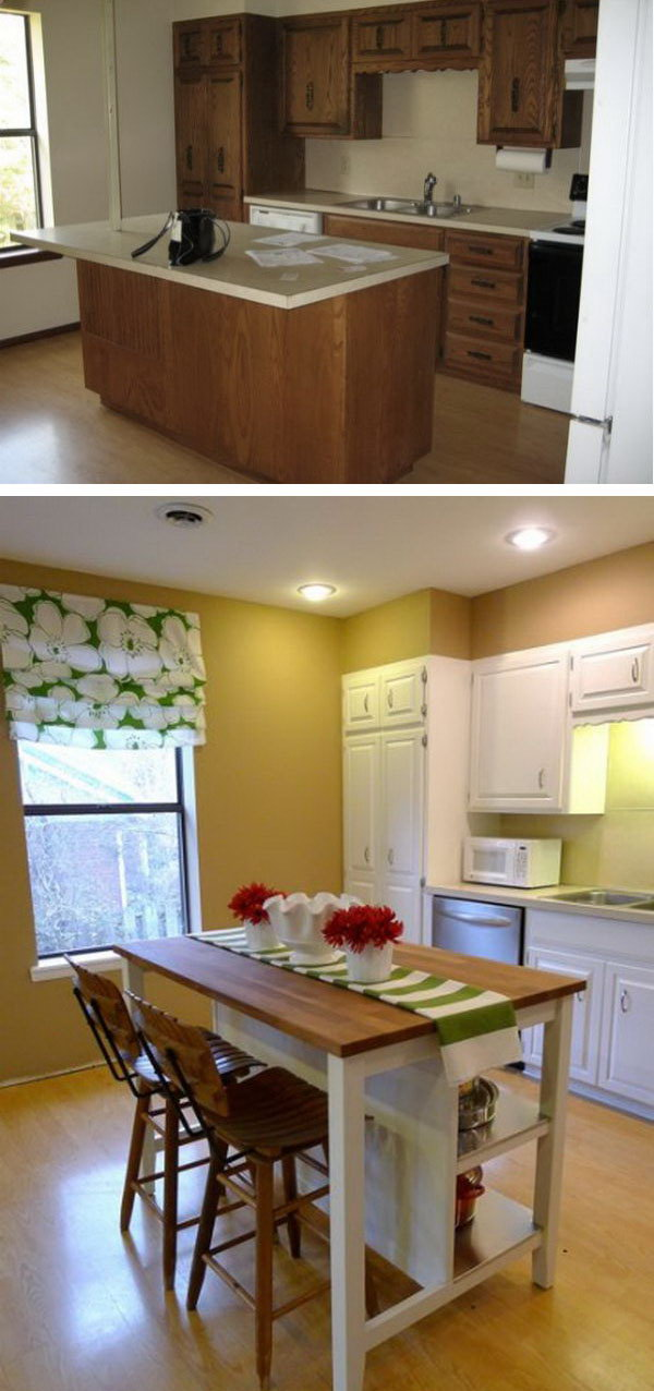 charming Budget Friendly Kitchen Makeovers #6: Budget Friendly Option. I Love the island from IKEA. The space looks much more