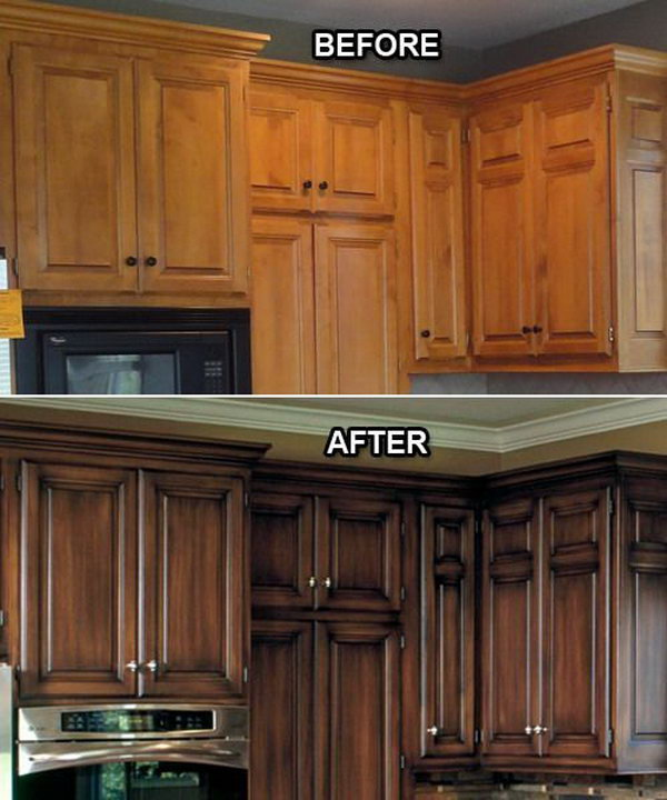 Before And After: Faux Finish On The Kitchen Cabinets.