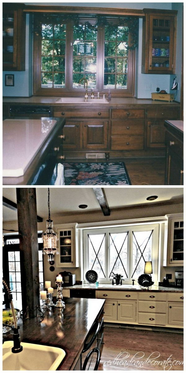 Absolutely stunning! This is one of the most beautiful kitchen transformations I have seen! You can see here how paint and talent can completely transform an old fashioned kitchen with oak cabinets to a gorgeous modern looking room with minimal effort and expense.