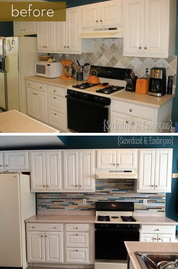 Before and After: Painted Tile Backsplash. I love the change of the backsplash, the shimmer of metallic tiles is charming. The kitchen looks much more modern and stylish now. But can you believe the backsplash is paint, not tile.