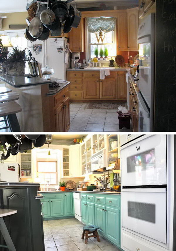 The Householder Painted Lower Cabinets Blue And Upper White Changed Cabinet