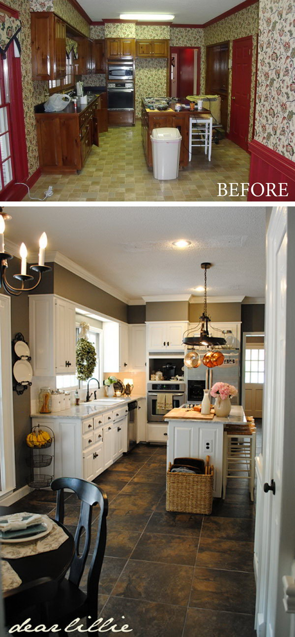 Before and after 25 budget friendly kitchen makeover for Cheap kitchen lighting ideas