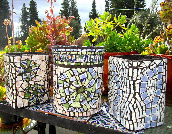 DIY Planters with Ceramic Tiles.