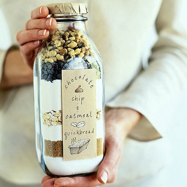 Bread in a Bottle. Lay the dry ingredients for easy quick bread into a milk bottle to give your friend a head start for the delicious bread  in a cheap and easy way.