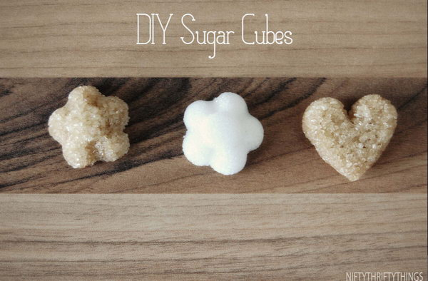 DIY Sugar Cubes. It's super chic to prepare this adorable sugar cubes for your friends, it's not expensive at all. Just mix sugar little by little with water for the paste like consistency. Fill it into ice cube tray and let it dry.