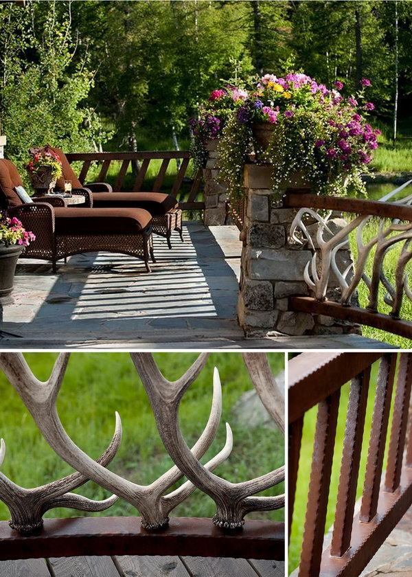Antler deck railing. With elk antler fencing railing,  the other side tilted metal deck railing and rough stones pillars, the designer deck railing turn this patio into a very gorgeous place. And it would be a sweet time stay outside to enjoy the beauty of the  dreamy house.