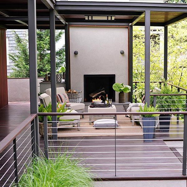 Metal deck railing.  Horizontal runs of wrought iron, welded metal railings and coated aluminum form a inexpensive but stylish deck railing. The metal deck railings has been so hot for its rich shapes and colors, strong texture, low cost and easy installation.