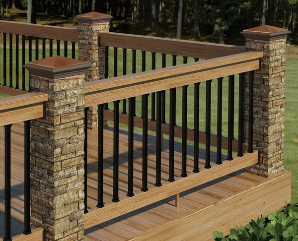 deck railing ideas. Simple Railing Stone Metal And Wood Deck Railing To Ideas N