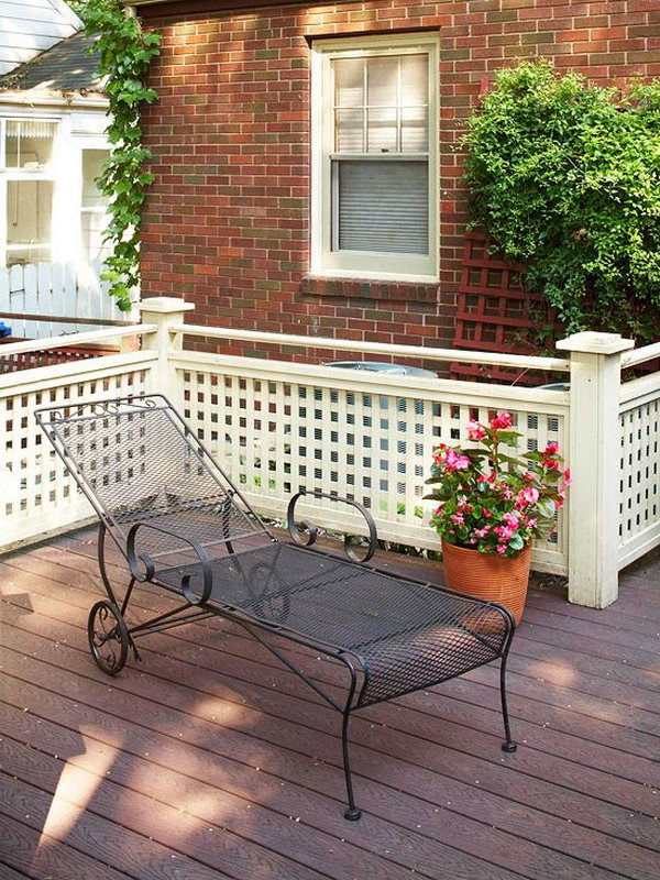 Lattice deck railings.  Lattice work makes a nice background for plants. And lattice adding rail to cover floor can increase security and privacy and make the most attractive cover.