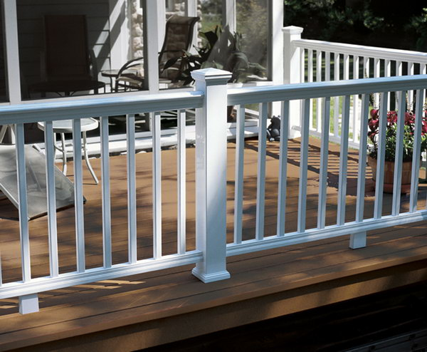 Traditional white deck railing. This simple and elegant white painted deck railing made of wood is very traditional but attractive. I love the clean and fresh look very much.