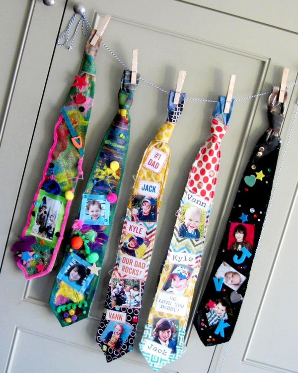 DIY Father's Day Ties. Sometimes Dads get ties for Father's day, christmas, birthday etc. You may think not all Dads consider it a great gift. Especially a tie like one of these is too funny to wear. However, Keep in mind Dads love everything made by their children and a DIY tie is never out of time.